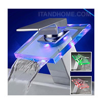 ��͡��� LED ����¹�յ���س����� ��䫹�ѹ���� RGB LED Light Glass Waterfall Faucet Temperature Sensor ��͡�������¹�յ���س�����